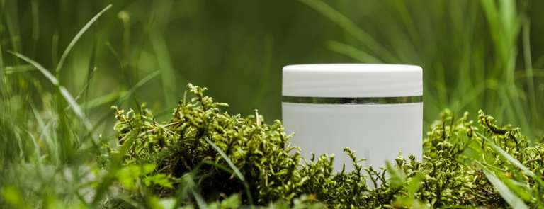 pot of natural cream in leaves forest