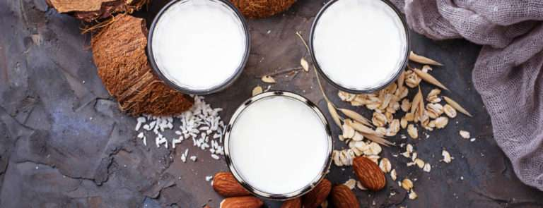 Plant based milks in 3 bowls, surrounded by coconuts, rice, almonds, wheat and soy beans.