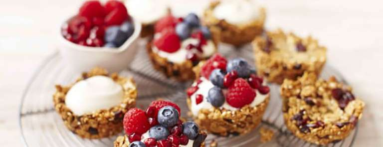 Granola breakfast cups on a cooling tray