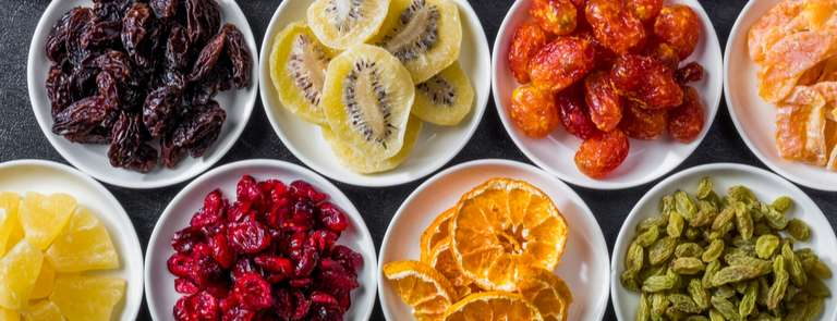 dried fruit in bowls