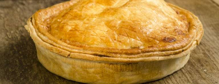 A pie on a table