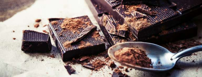 squares of dark chocolate with spoon