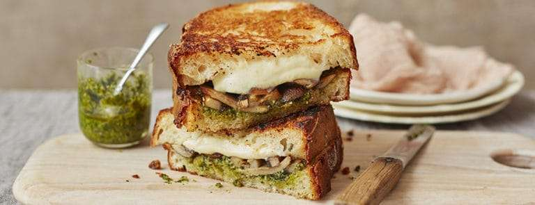 Mozzarella, Mushroom and Pesto Sourdough Toasties