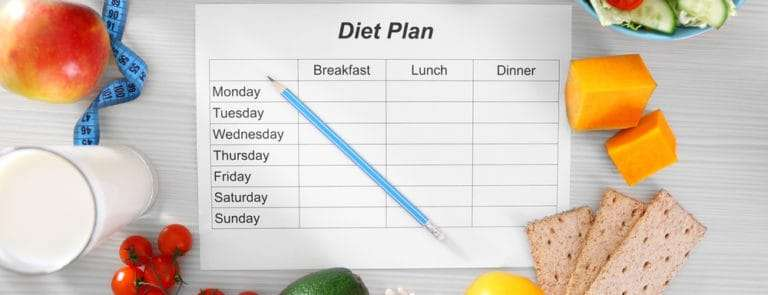 A blank diet plan with different foods around it