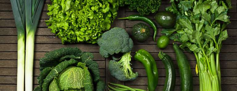 An array of leafy green vegetables.