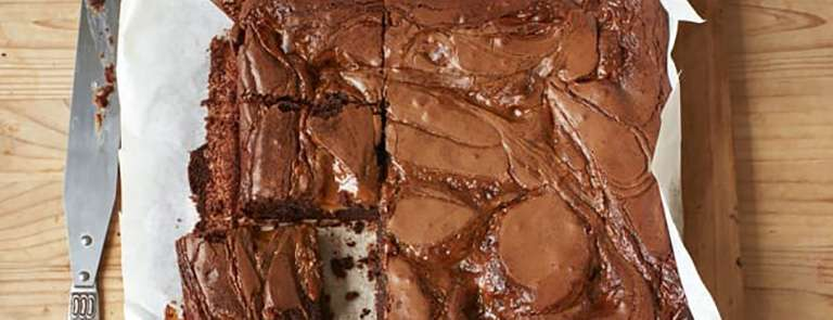 A tray of salted caramel chocolate brownies