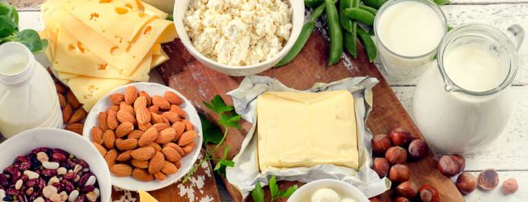 a selection of foods that contain calcium