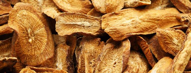 closeup of dried burdock root slices