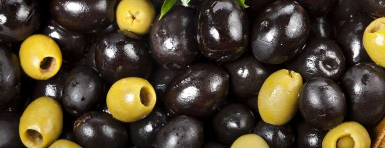 black and green fresh olives