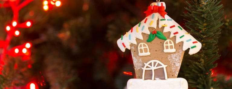 Christmas tree decoration with gingerbread of house