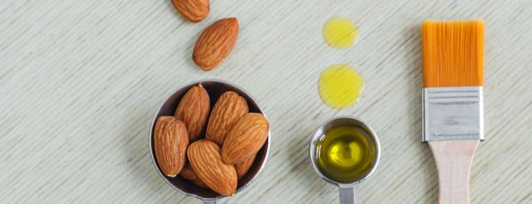 almonds and olive oil to use in almond butter face mask