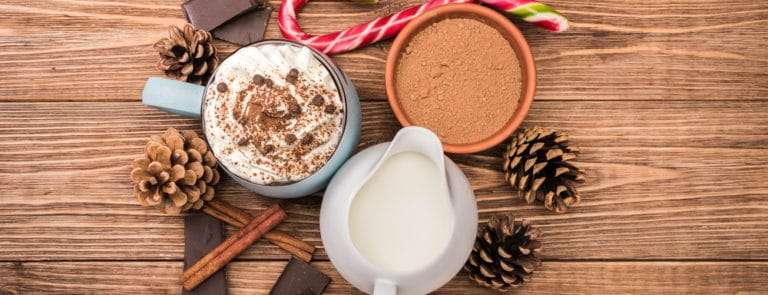 The concept of Christmas cooking hot chocolate