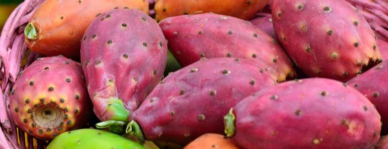 Prickly pears in a straw basket
