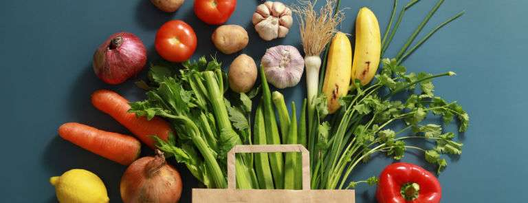 assortment of vegetables next to a paper grocery bag