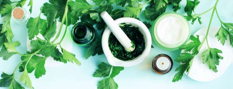 natural cosmetic products with leaves
