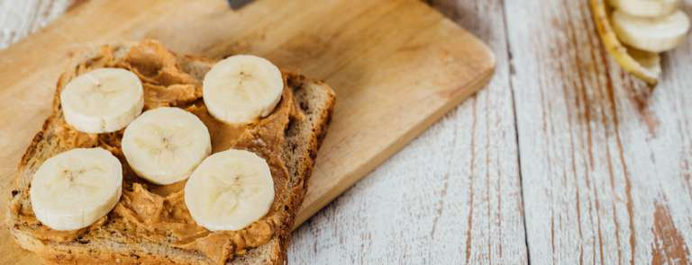 peanut butter and banana on wholemeal toast