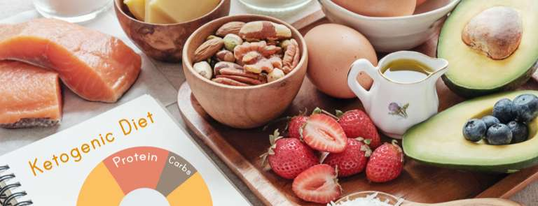 keto foods with planner saying keto diet
