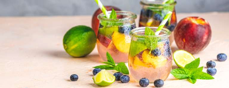 variety of fruit infused drinks