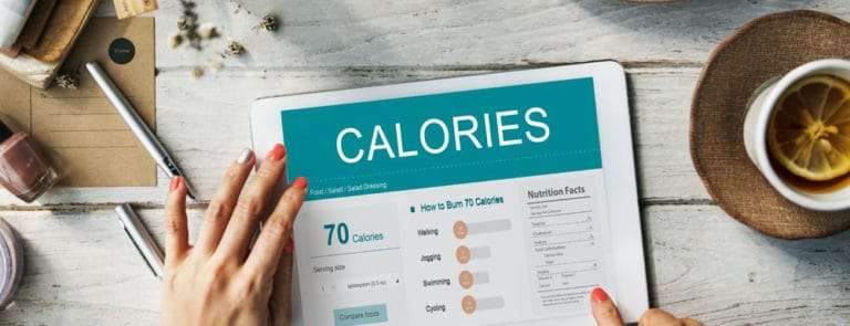Tablet displaying calorie information