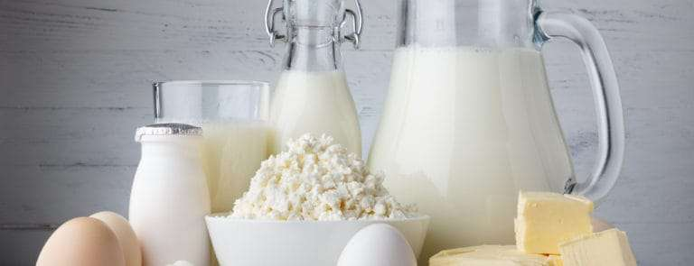 Various dairy products such as butter, eggs, milk and cheese